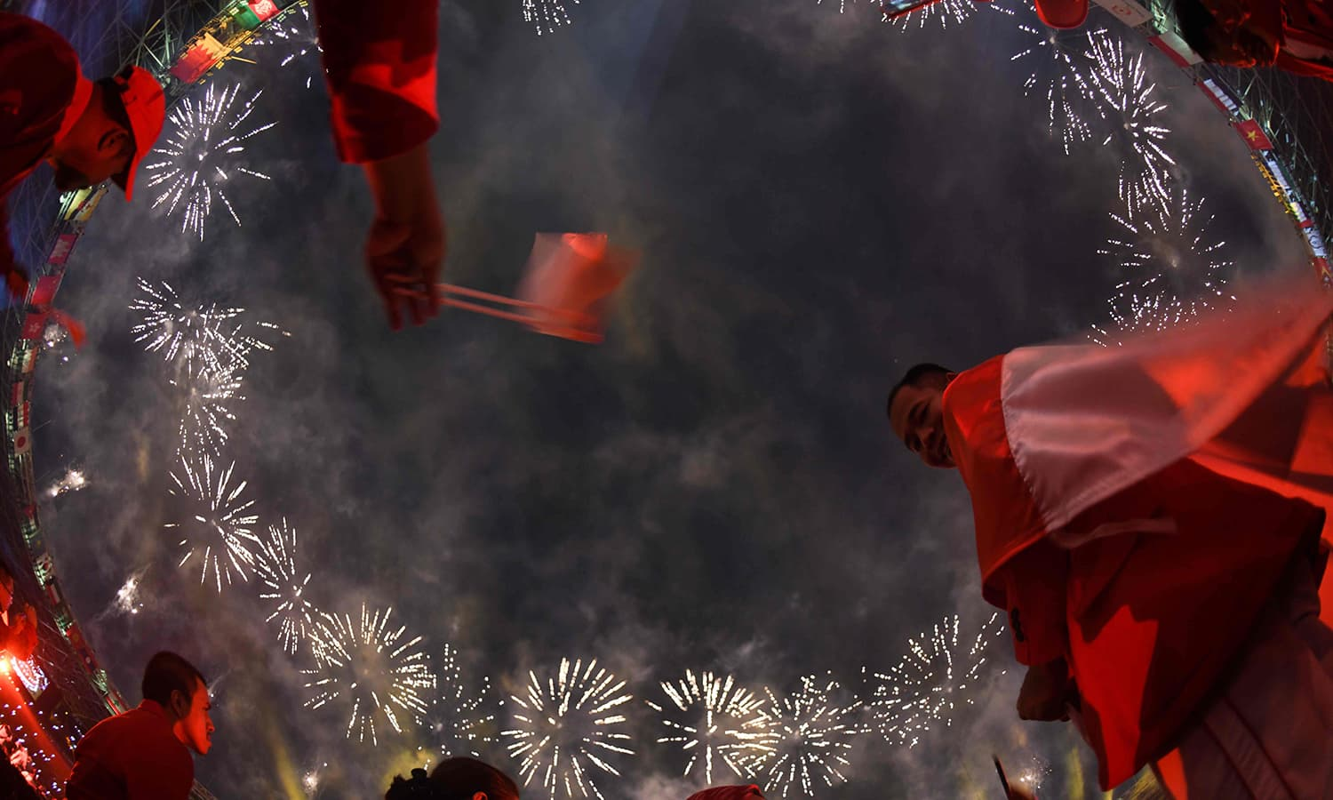Fireworks explode over the Gelora Bung Karno main stadium during the opening ceremony of the 2018 Asian Games in Jakarta. —AFP