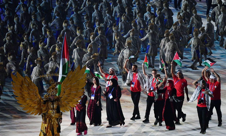 گیمز میں فلسطین کی ٹیم بھی شرکت کر رہی ہے—فوٹو: اے ایف پی