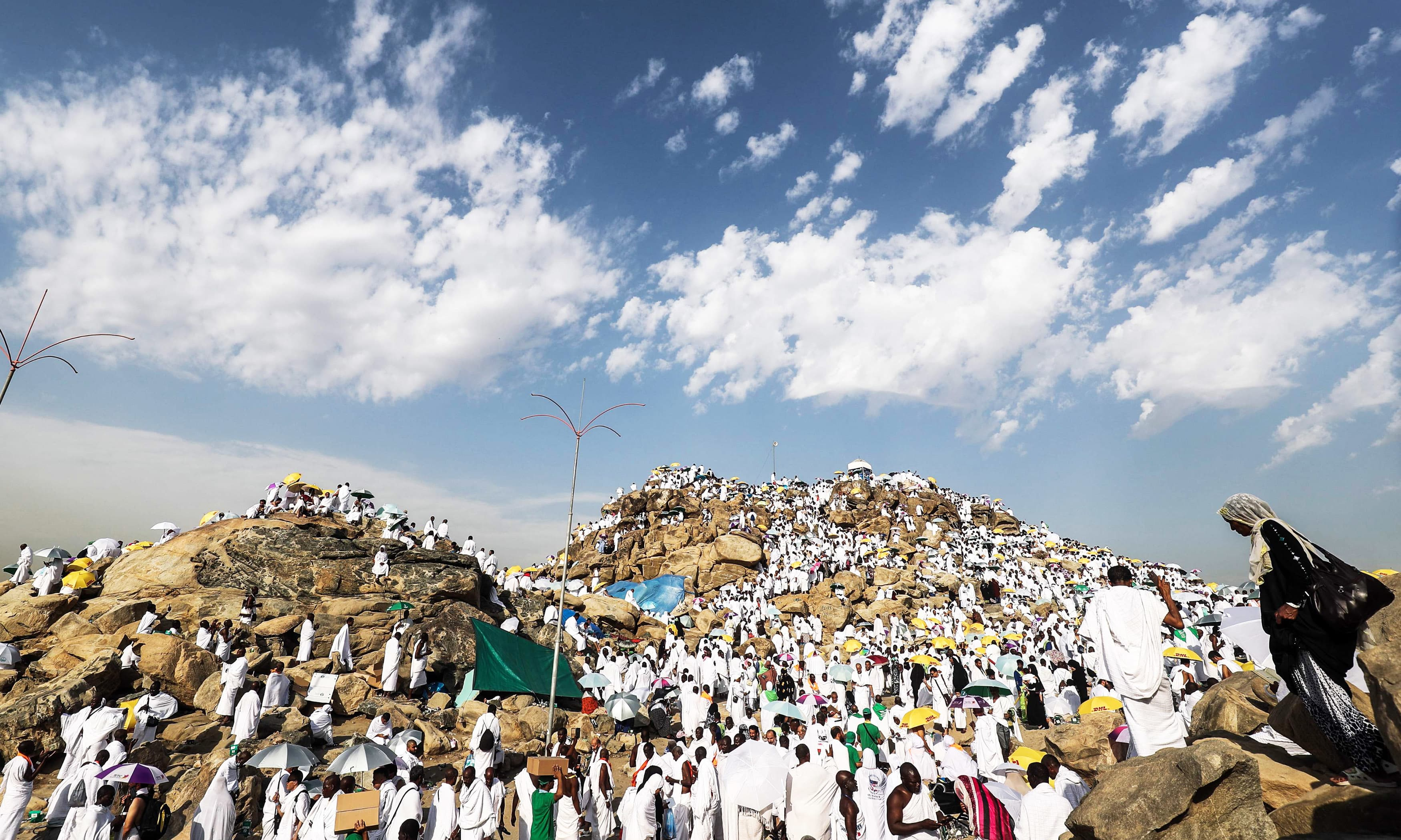Pilgrims gather on Mount Arafat, also known as Jabal al-Rahma (Mount of Mercy), southeast of the holy city of Makkah. —AFP