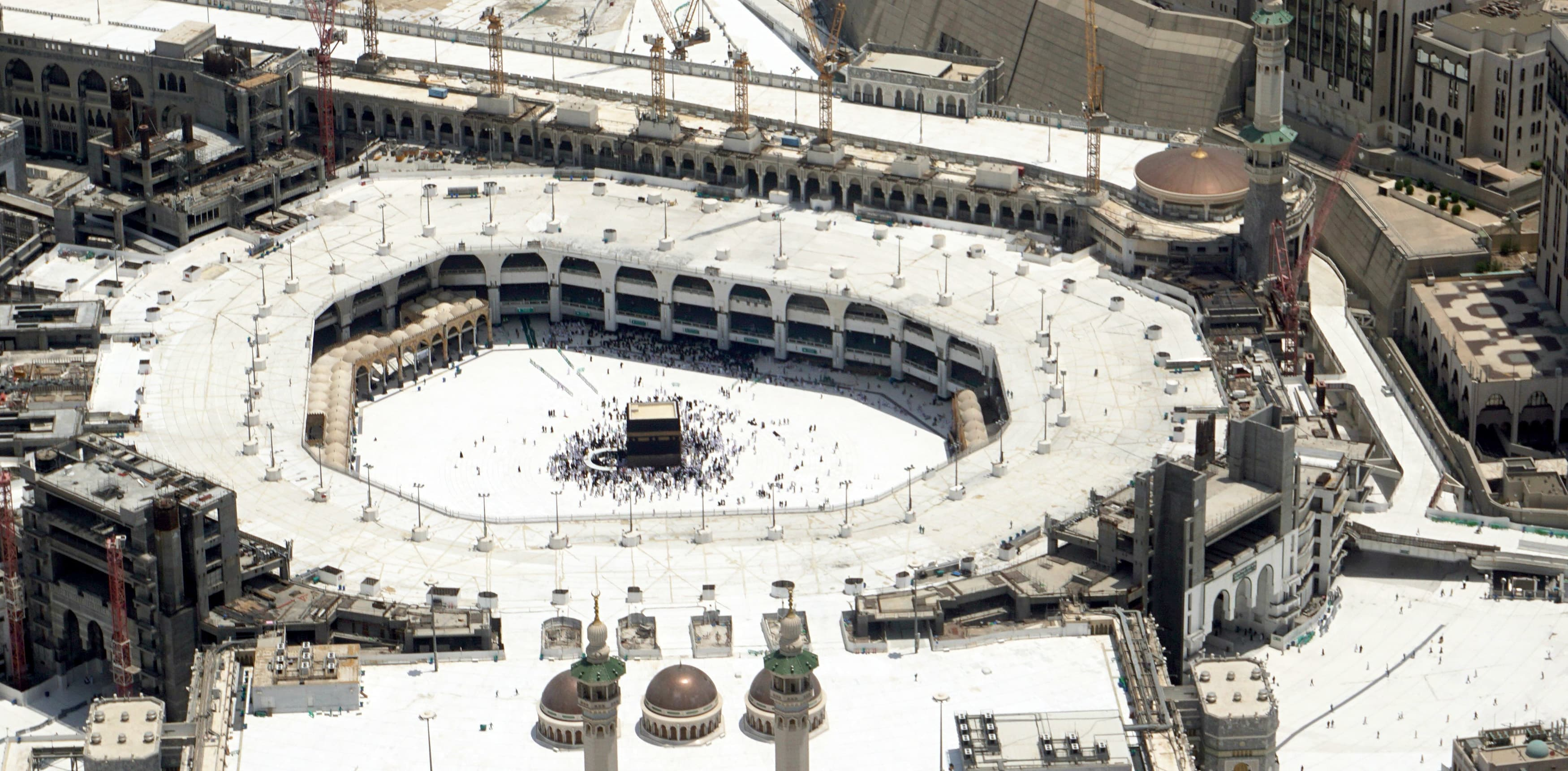 An aerial view shows the Kaaba at the Grand Mosque, during the annual Haj pilgrimage. —AFP
