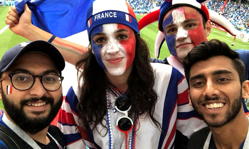 Celebrating the French victory.