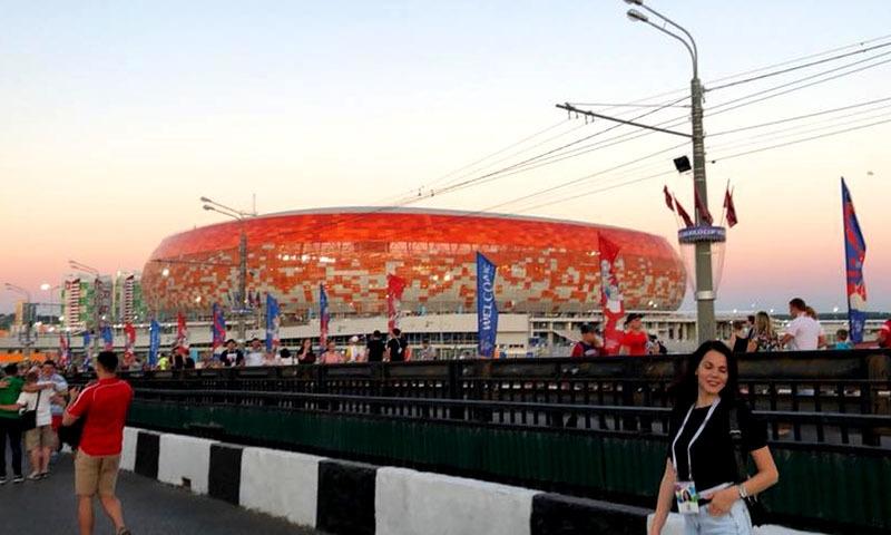 Mordovia Arena in its brilliant orange hue.