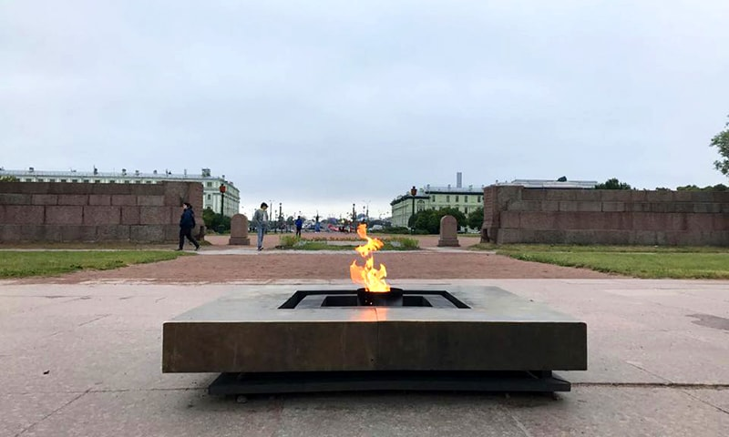 The Eternal Flame — a memorial to the siege of Leningrad.