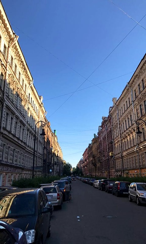 St. Petersburg's architecture is built in a way that you can see the horizon. It's supposed to enhance perspective.