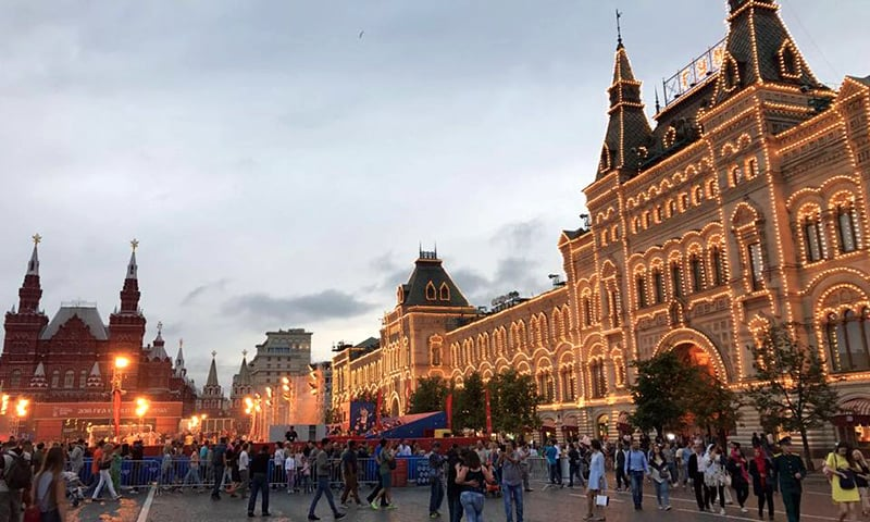 The Red Square was lit up and buzzing.
