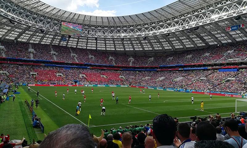 A nearly full 80,000-seater Luzhniki Stadium, the largest stadium in Russia.