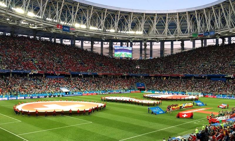 The Nizhny Novgorod Stadium was a fully covered facility.