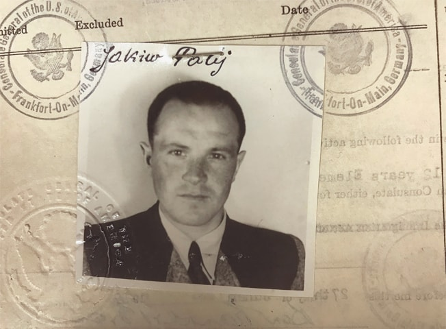 Jakiw Palij (left), a 95-year-old New York City man believed to be a former guard at a labour camp in Nazi-occupied Poland, is pictured in a 1949 visa photo. In this Monday frame from a video (right), Palij is carried on a stretcher from his home in the Queens borough of New York.—Agencies