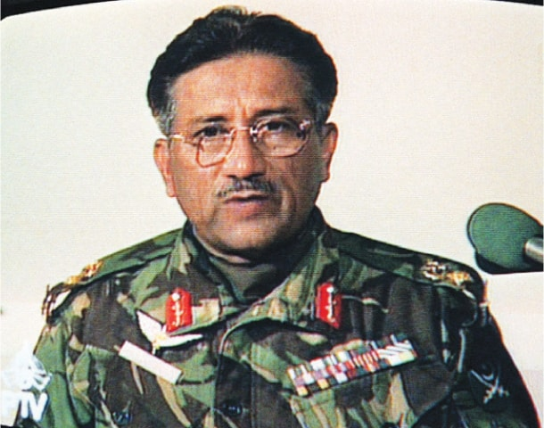 A still from a televised address on Oct 13, 1999, by then Army Chief Gen Pervez Musharraf following the announcement that then prime minister Nawaz Sharif had been removed from office following a military takeover | Dawn file photo/ AFP