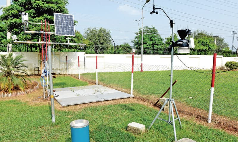 Pakistan Meteorological Department authorities have installed equipment with the support of local suppliers. This equipment, which is being run on trial basis, measures rainfall, humidity, wind speed and direction. It is portable and can easily be shifted to remote Met centres.
