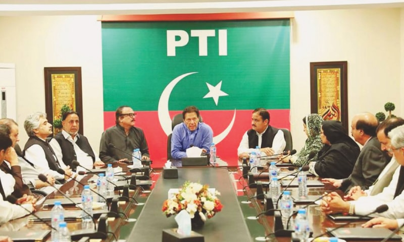 ISLAMABAD: Prime Minister Imran Khan presides over a meeting of the Pakistan Tehreek-i-Insaf on Sunday.