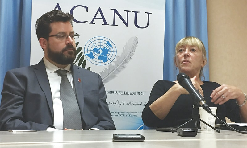 Geneva (Switzerland): Peter Asaro (left), a member of the International Committee for Robot Arms Control, and Jody Williams of the Nobel Women's Initiative speak to reporters at a news conference on Monday.—AP