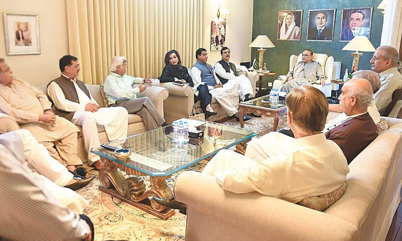 ISLAMABAD: Pakistan Peoples Party co-chairman Asif Ali Zardari holds a meeting with the party's senior leaders at Zardari House on Tuesday.—INP
