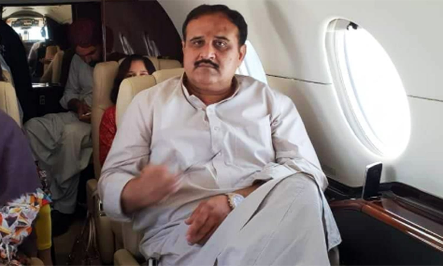 The photo of Punjab Chief Minister Usman Buzdar and his family members aboard a private plane surfaced on social media on Tuesday.