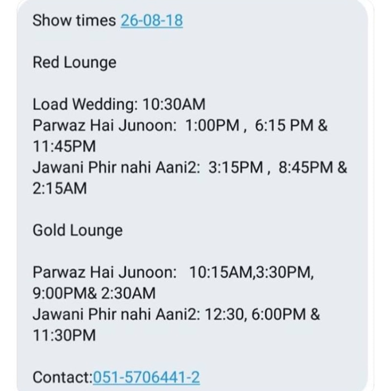 The show-timings shared by Qureshi on Twitter as proof