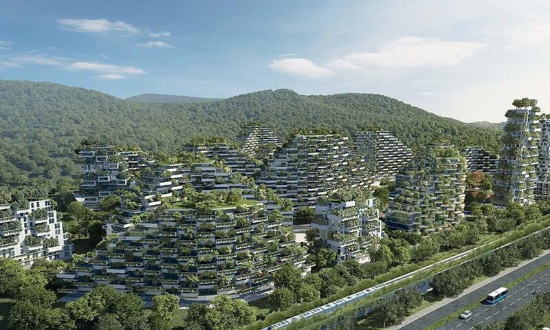 چین کی حکومت کا یہ اعلان سامنے آیا تھا کہ وہ اپنے ایک شہر لیوزوھو کے قریب دنیا کا ایک پہلا مکمل جنگلاتی شہر بنائے گی—تصویر بشکریہ stefanoboeriarchitetti.net