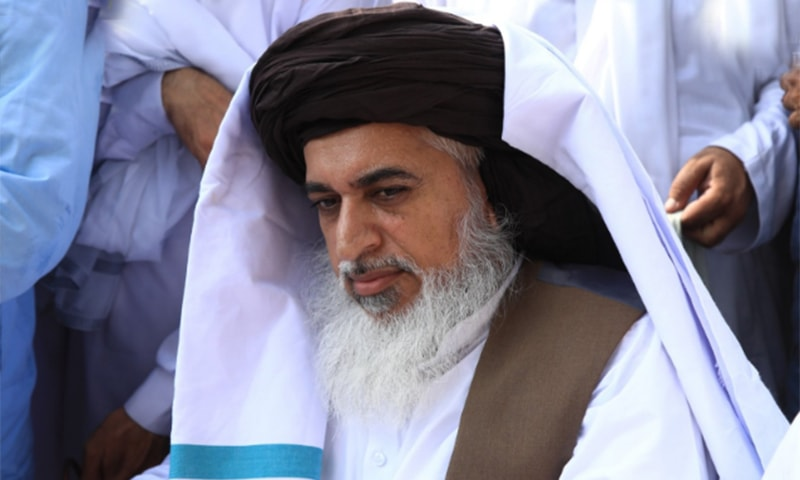 Khadim Hussain Rizvi is seen at the start of the march. — Courtesy: Khadim Rizvi Twitter