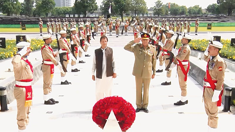 Prime Minister Imran Khan and Army Chief Gen Qamar Javed Bajwa pictured at the Shuhada Monument.