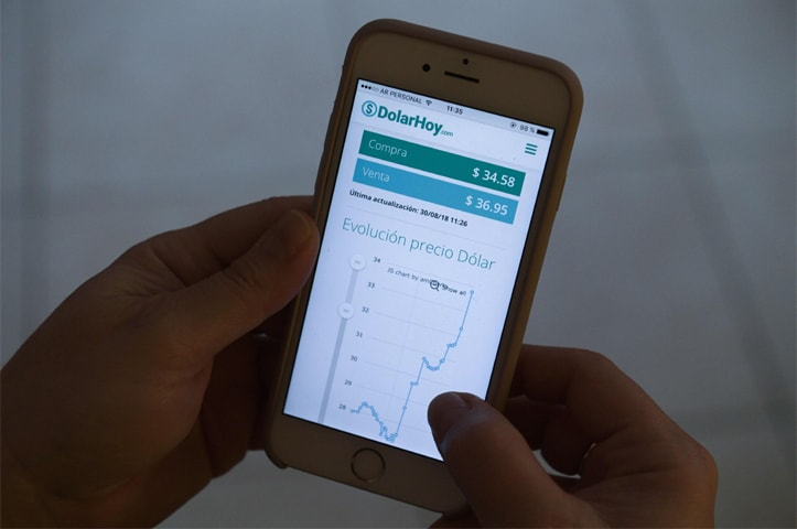 BUENOS AIRES: In this photo, a person shows the evolution of the currency exchange on a cell phone on Thursday. Argentina's central bank announced yesterday that it has raised its benchmark interest rate from 45 to 60pc in a bid to arrest a slide in its currency's value.—AFP