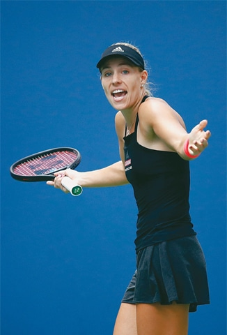 GERMANY'S Angelique Kerber reacts during her third-round match against Dominika Cibulkova of Slovakia.—AFP