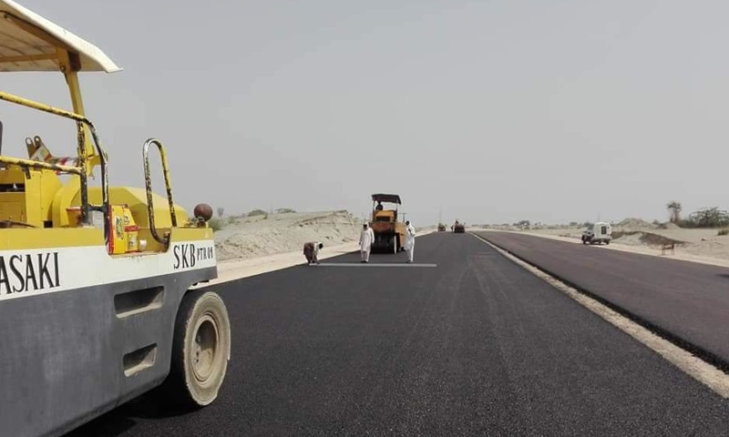 Work underway on the DI Khan to Hakla highway, also known as the M14, which is a part of a so-called western route of CPEC.—File photo