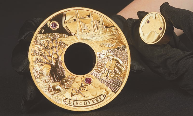 This picture released by The Perth Mint on Tuesday shows a minted  two-kg (4.4 lbs) gold coin called 'Discovery'.—AFP