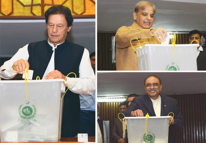 PRIME Minister Imran Khan (left), PML-N president Shahbaz Sharif (top right) and PPP co-chairman Asif Ali Zardari cast their votes in the presidential election on Tuesday.—White Star