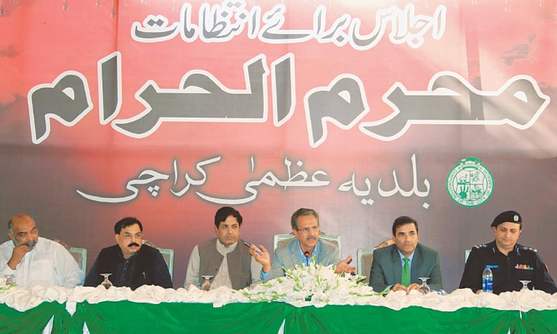 MAYOR Akhtar speaks at the KMC head office on Tuesday.—PPI