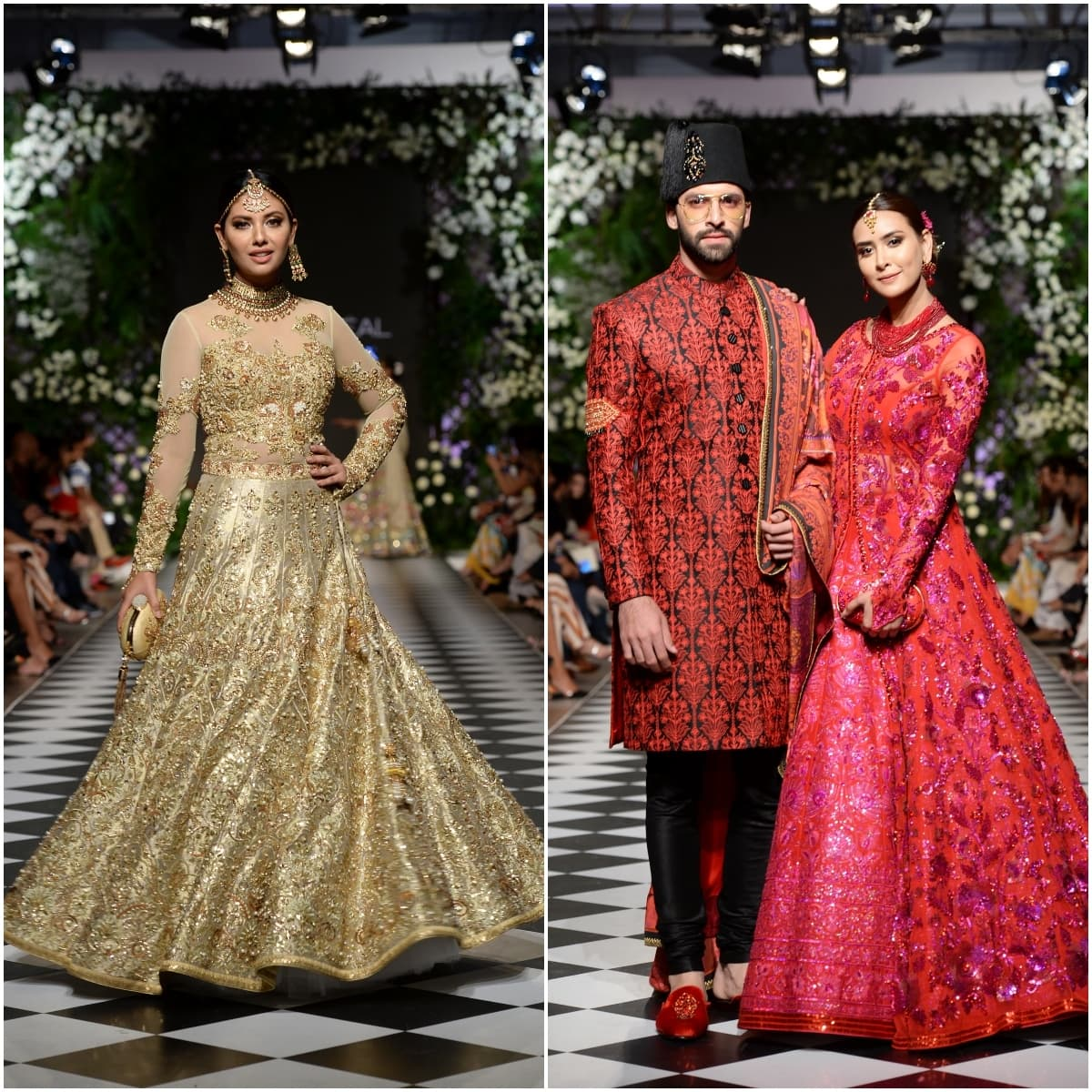 Standout looks from Nomi Ansari's colour wheel: gold on gold handwork, fuschia embellishments over a brilliant red