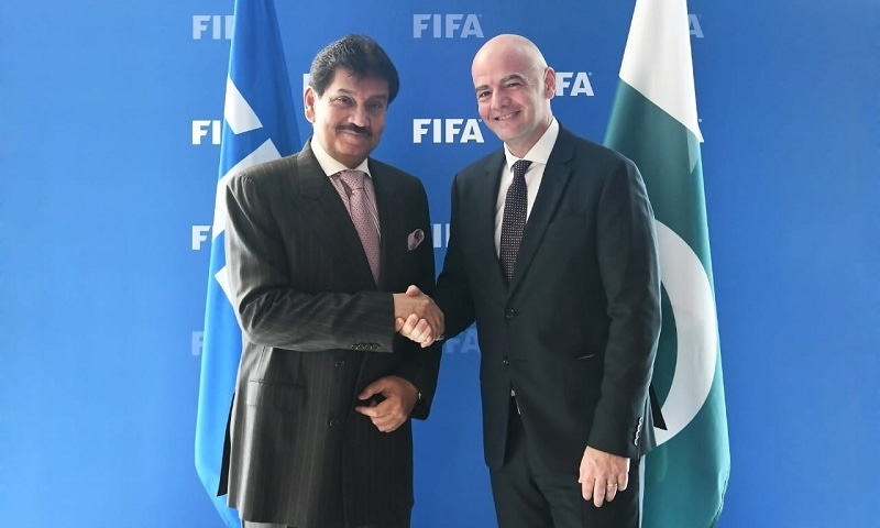 FIFA President Gianni Infantino met PFF President Makhdoom Syed Faisal Saleh Hayat at the FIFA Headquarters in Zurich. —Agencies