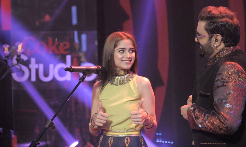 Aima Baig giving Sahir Ali Bagga two thumbs up after recording their song Baazi