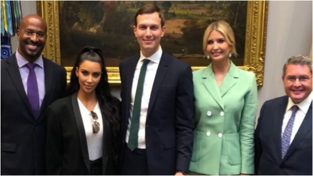 Kim with Jared Kushner, Ivanka Trump and other senior officials at the White House