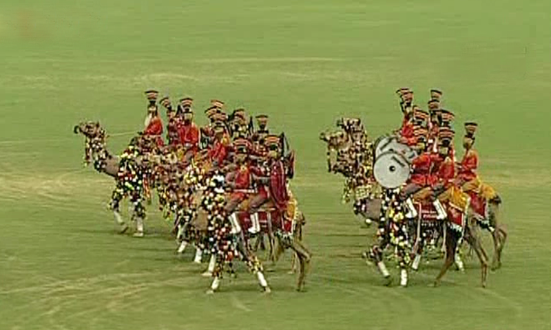 A camel-mounted band performs at a Defence Day event in Lahore. — DawnNewsTV