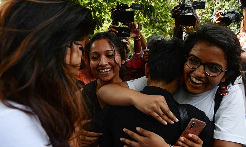 Supporters and members of India's LGBT community celebrate the historic verdict. ─ AFP