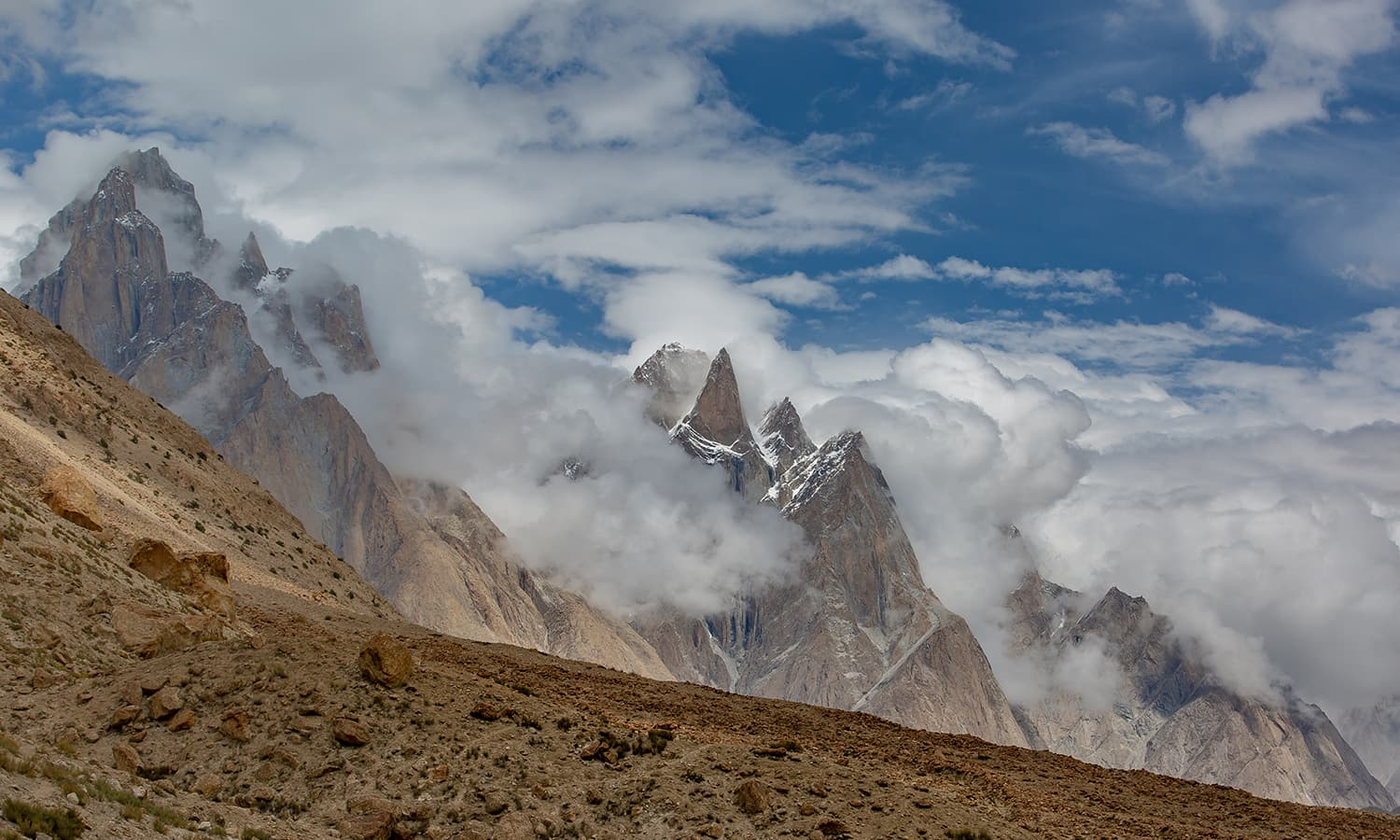 Views of the giants from Payu: Trango and Cathedral groups.
