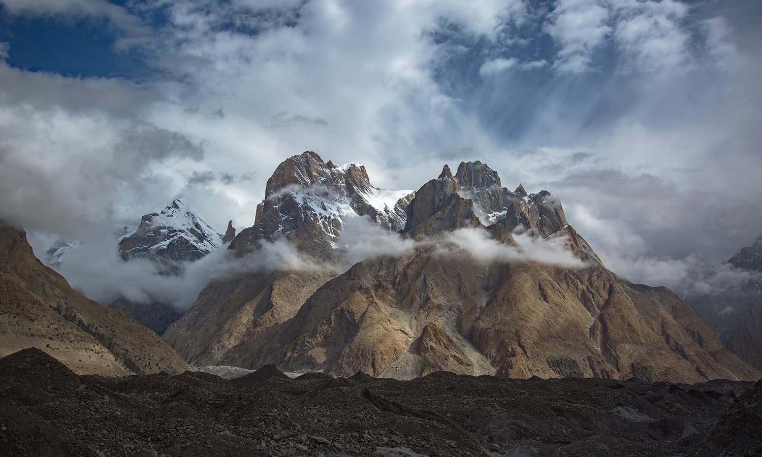 First views of the Trango Group. The highest summit is 6,286m and these granite spires present one of the most challenging climbs in the world.