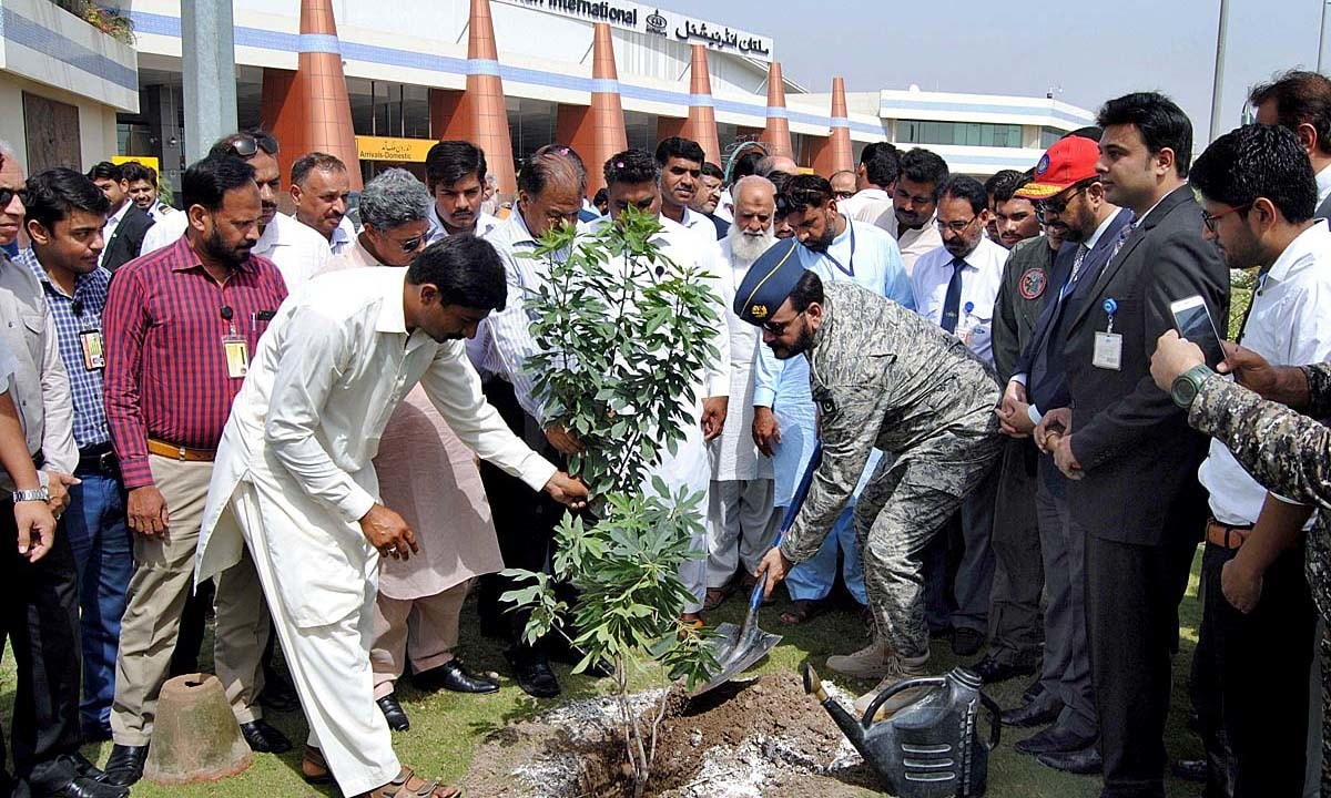 Gp. Cpt. Muzammil Jibran sapling a plant during Tree Plantation Campaign at Multan airport.  — APP