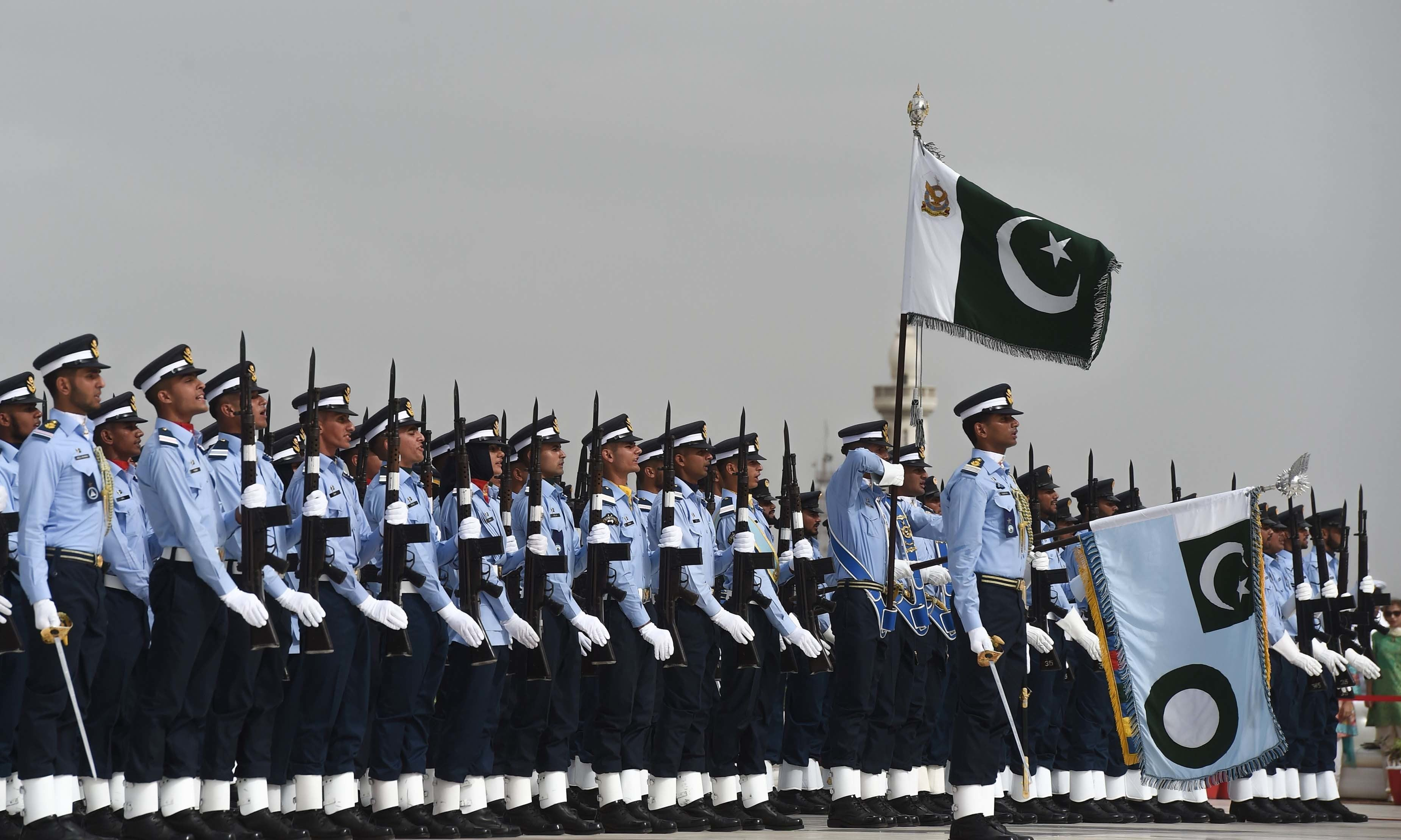 Pakistan Air Force cadets march next to Quaid-i-Azam Mohammad Ali Jinnah's mausoleum. — AFP