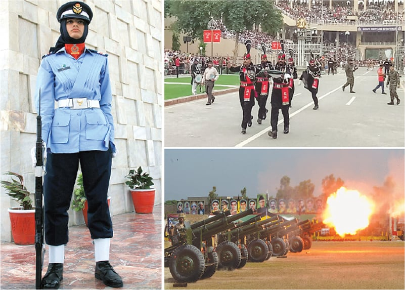 (Left) A Pakistan Air Force female cadet stands alert after the change of guards ceremony held on the occasion of Defence Day of Pakistan at the mausoleum of Quaid-i-Azam Mohammad Ali Jinnah in Karachi on Thursday. (Top-right) Armed forces personnel do the flag march at Wagah Border near Lahore. A view of cannon firing at Karnal Sher Khan Shaheed Army Stadium in Peshawar.—PPI / White Star
