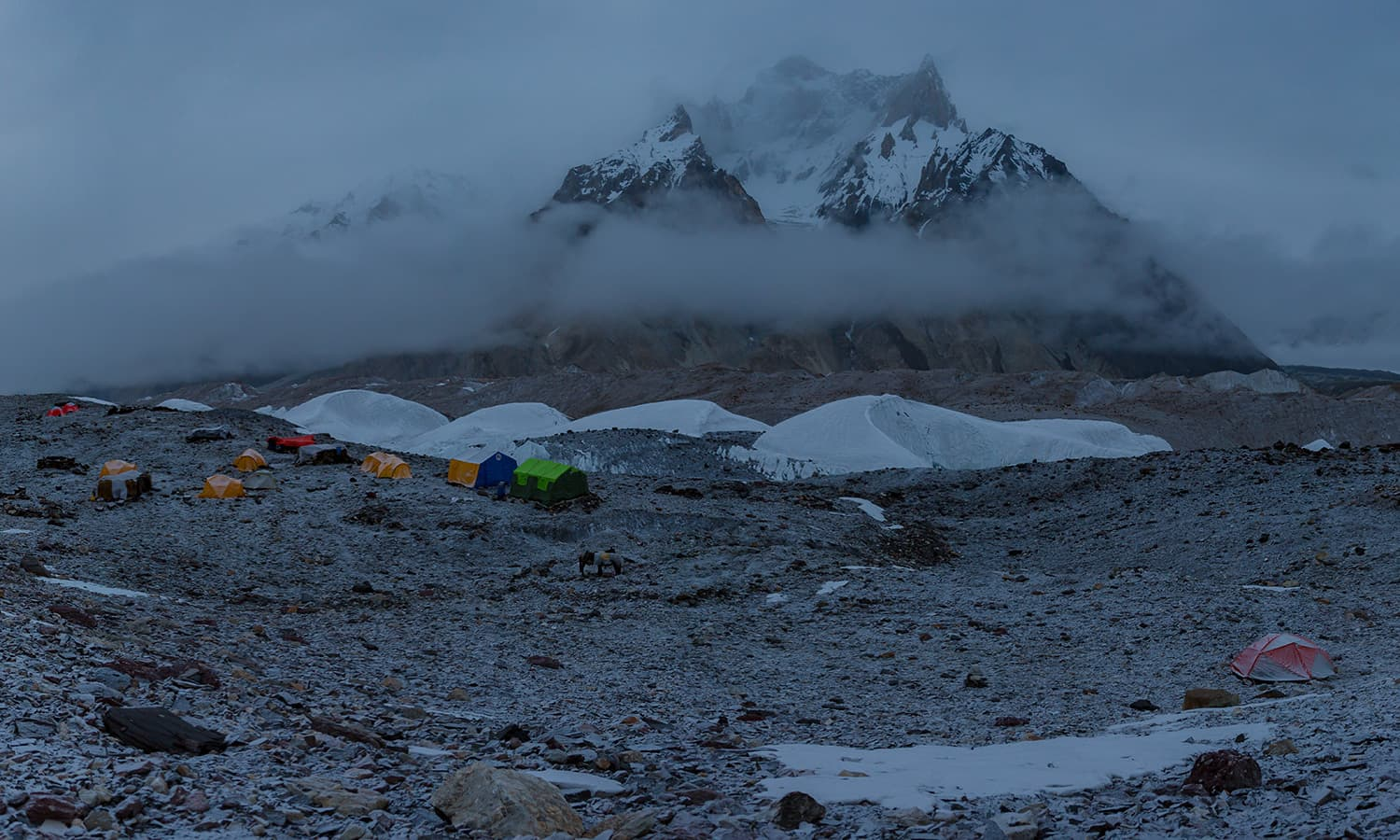 The Concordia camp with Marble Peak (6,256m).