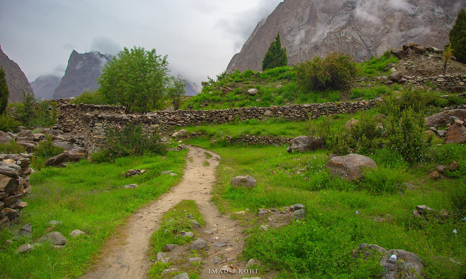 The trek passed through several structures built to keep goats and cows.