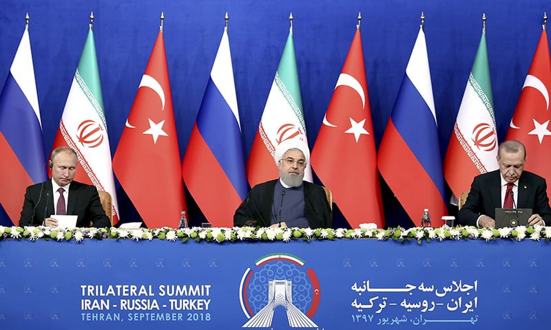 Russia's President Vladimir Putin, left, Iran's President Hassan Rouhani, center, and Turkey's President Recep Tayyip Erdogan attend a joint press conference in Tehran, Iran, on Friday, Sept 7, 2018. —AP