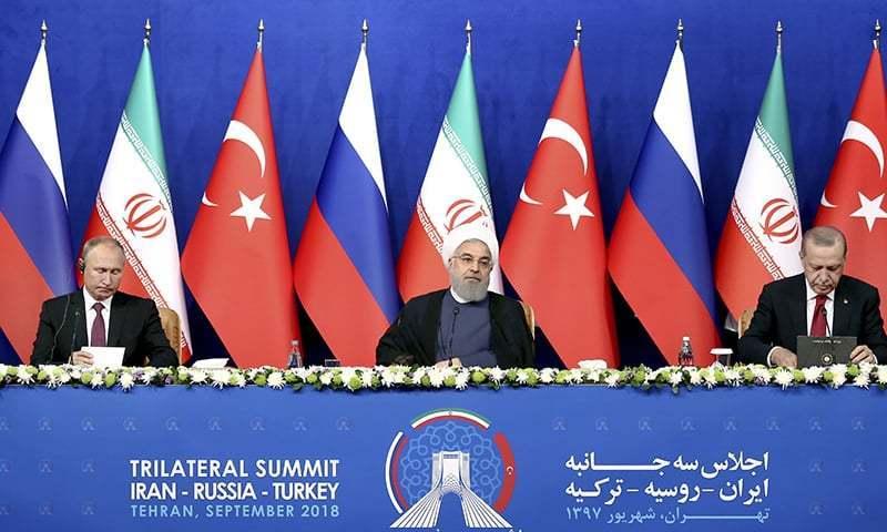 اردوان، روحانی اور پیوٹن نے اگلا اجلاس روس میں منعقد کرنے پر اتفاق کیا—فوٹو: اے پی