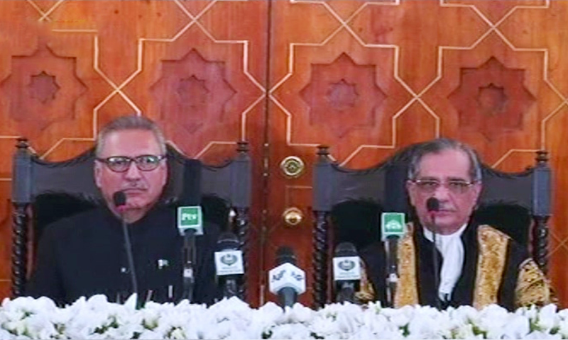 President Arif Alvi and CJP Mian Saqib Nisar seated after the oath-taking ceremony at President House. ─ DawnNewsTV