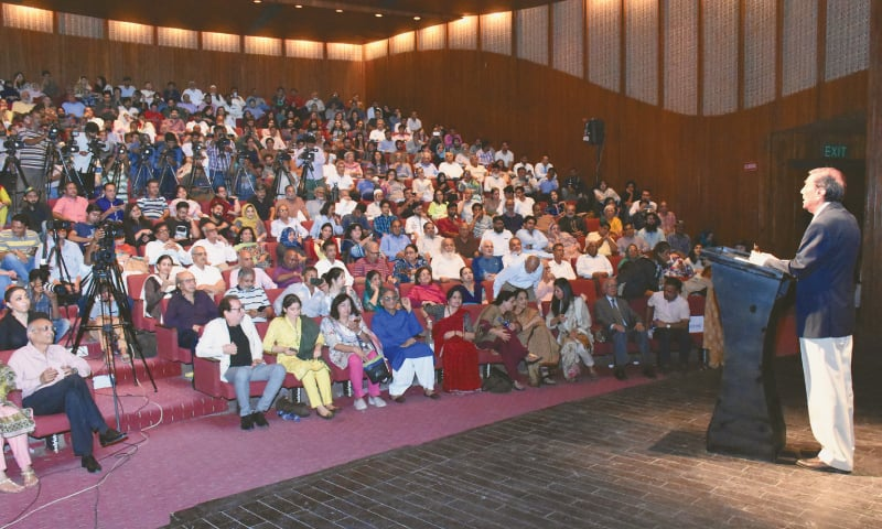ZIA Mohyeddin speaks to the audience.—Dawn