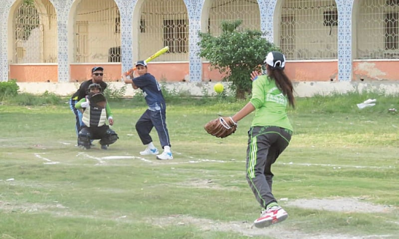 KHAIRPUR: A view of the Karachi Academy versus Sukkur Academy softball match on Sunday.
