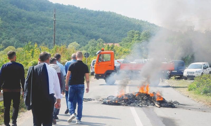 Kosovo Albanians block roads during Serbian president's visit