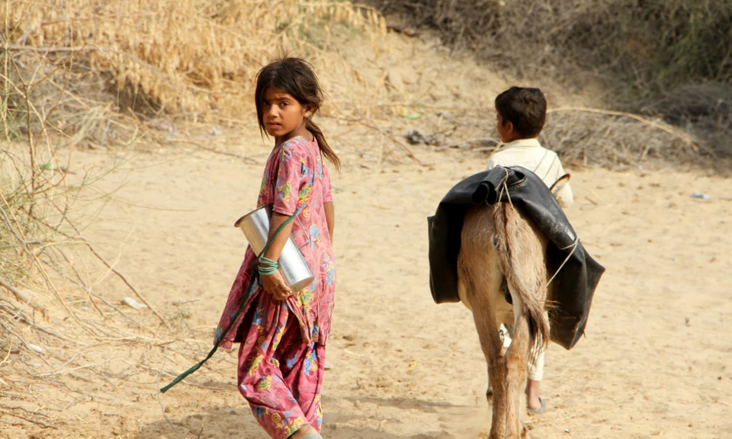 A young girl and boy set out to look for water.