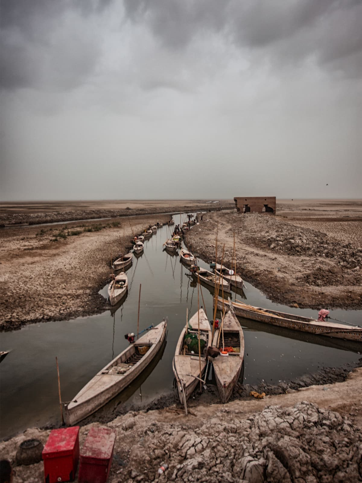 Boats parked at the western  edge of Manchar Lake