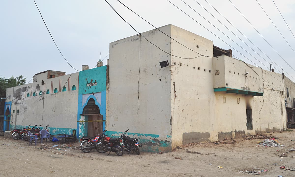 An Ahmadi prayer hall  that was attacked by a mob on the second day of Eidul Azha this year in Faisalabad's Ghaseetpura area | Rizwan Safdar